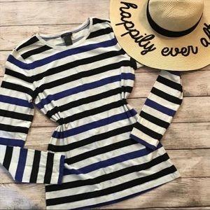 Ann Taylor Striped Long Sleeve T-Shirt Blue Black